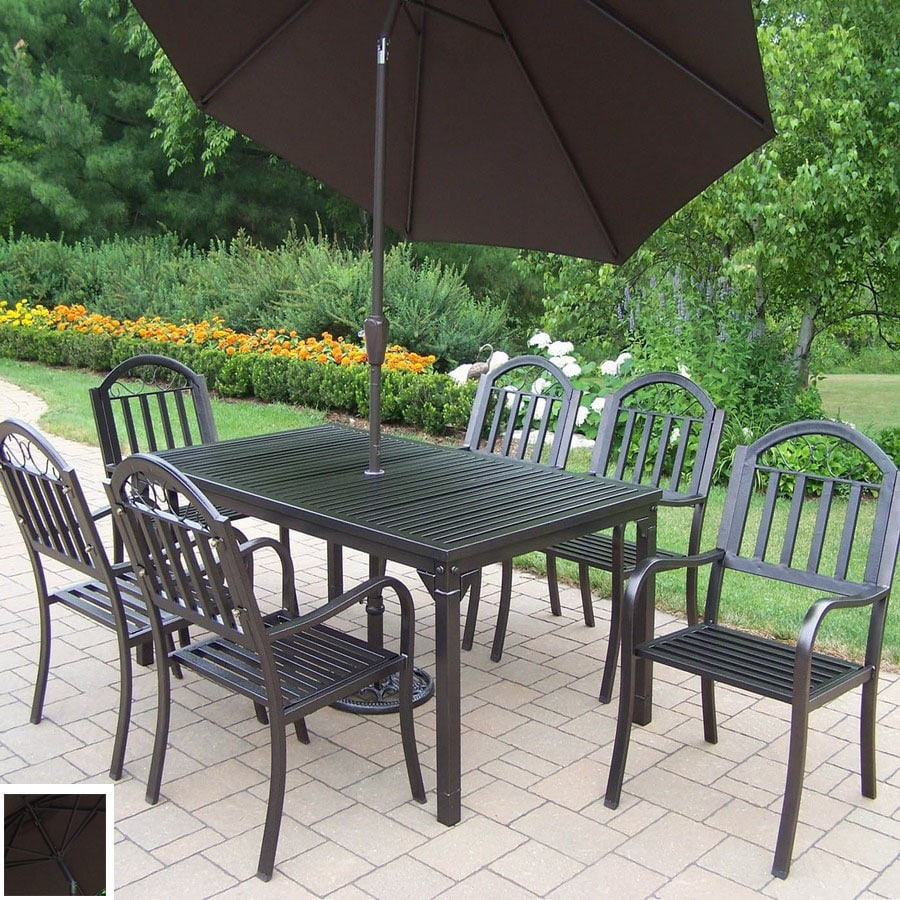 Oakland Living 7-Piece Slat Wrought Iron Patio Dining Set