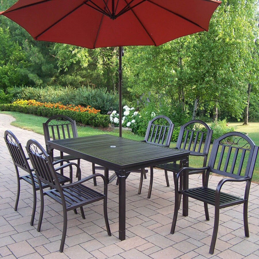 Oakland Living 7 Piece Slat Wrought Iron Patio Dining Set