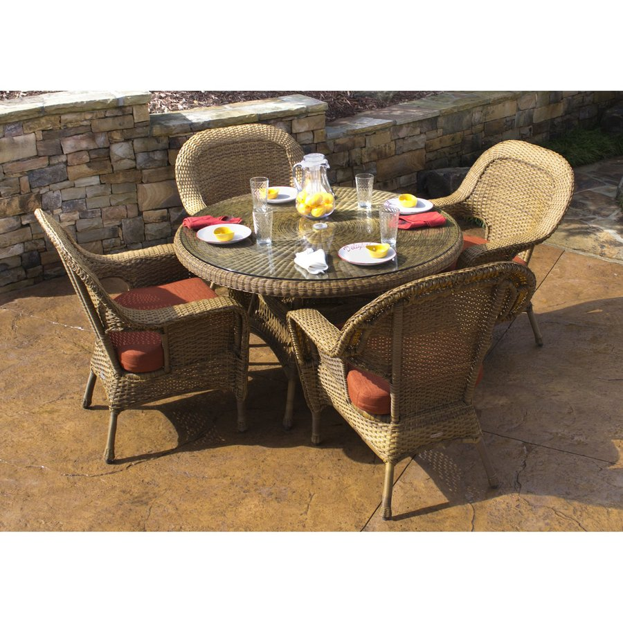 Tortuga Outdoor Lexington 5 Piece Mojave Glass Patio Dining Set