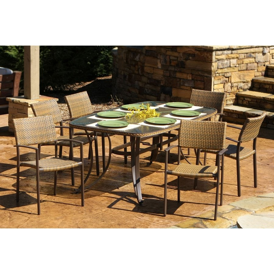 Perfect Tortuga Outdoor Maracay 7 Piece Antique Gray Glass Patio Dining Set