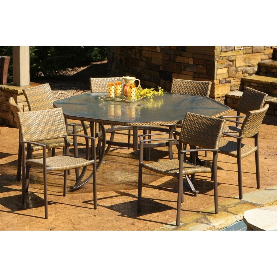 Tortuga Outdoor Maracay 9 Piece Antique Gray Glass Patio Dining Set