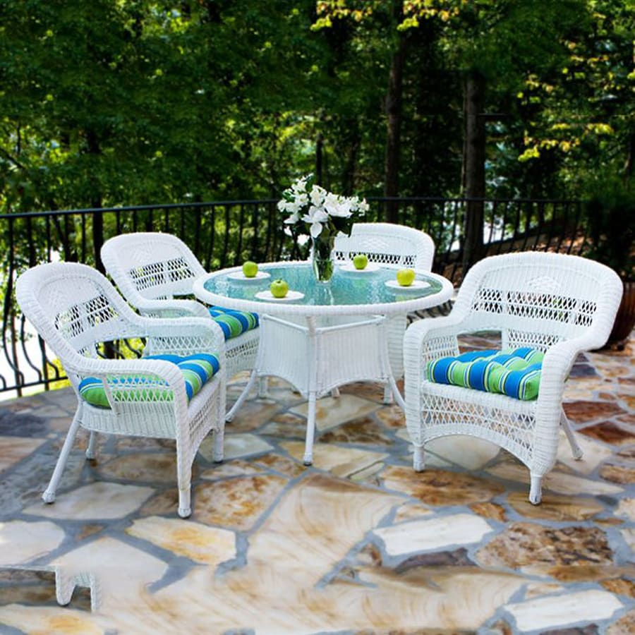 Tortuga Outdoor Portside 5 Piece White Wood Frame Wicker Patio Dining Set With Haliwell Caribbean