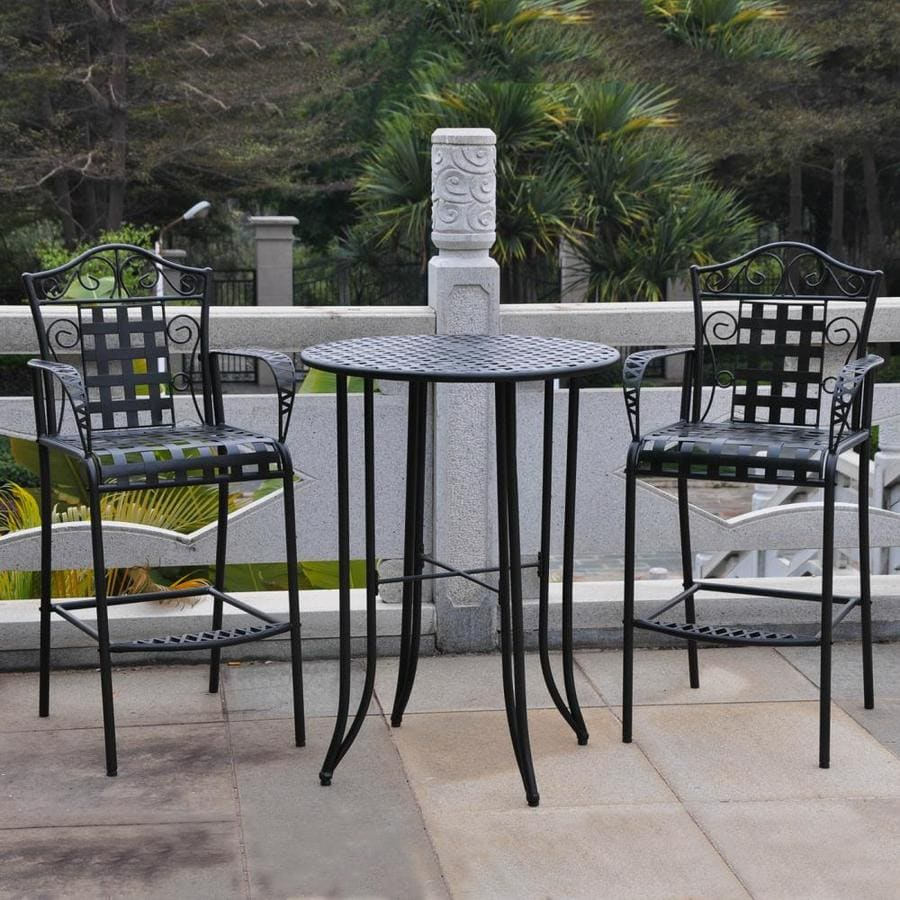 International Caravan Mandalay 3 Piece Antique Black Wrought Iron Bar Patio  Dining Set