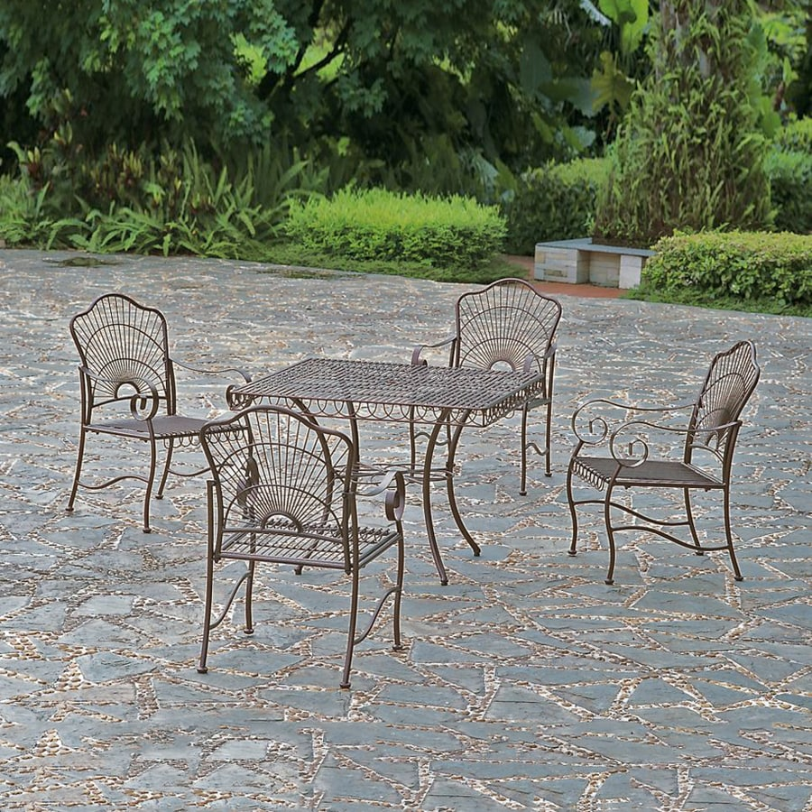 Superb International Caravan Sun Ray 5 Piece Bronze Metal Frame Patio Dining Set