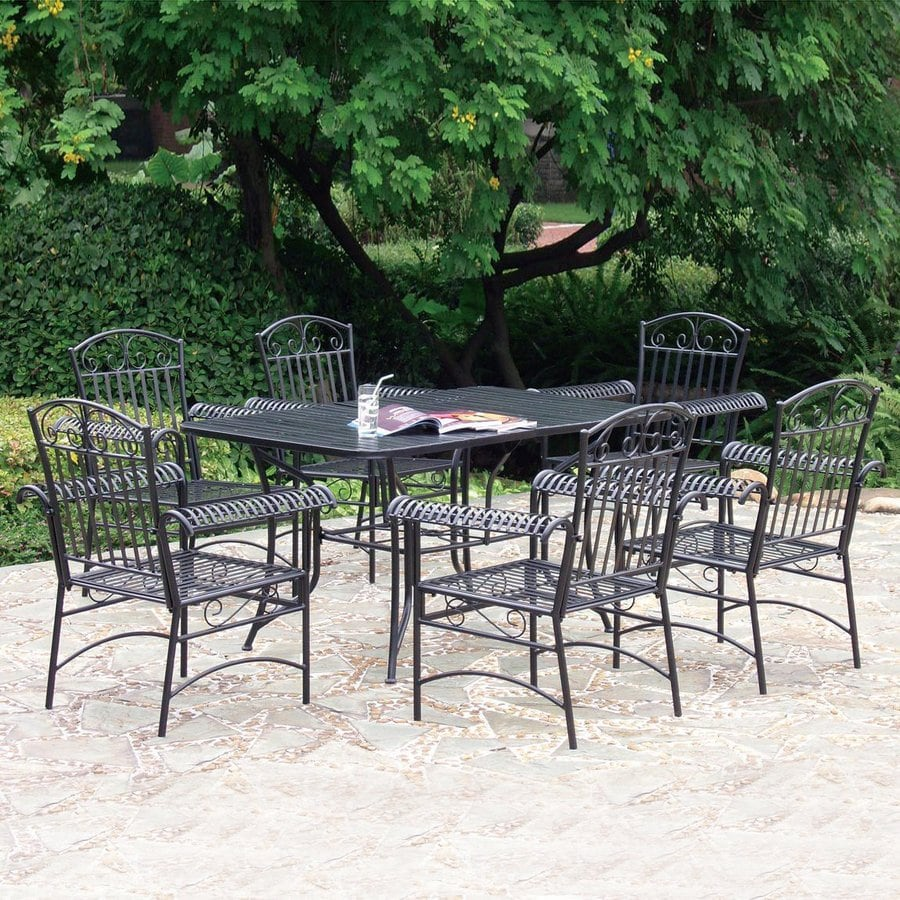 International Caravan Tropico 7 Piece Wrought Iron Patio Dining Set