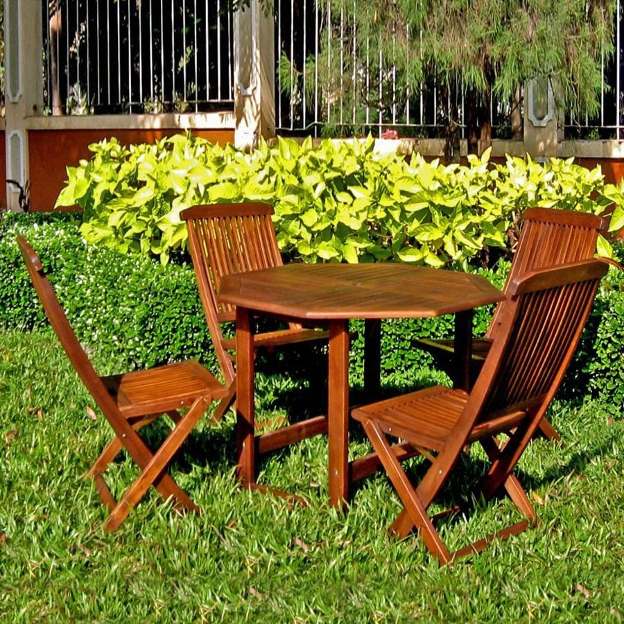 International Caravan 5-Piece Folding Patio Dining Set