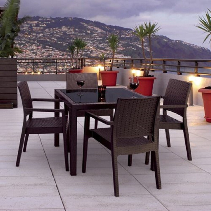 Compamia Miami Wickerlook 5-Piece Coffee Brown Glass Patio Dining Set