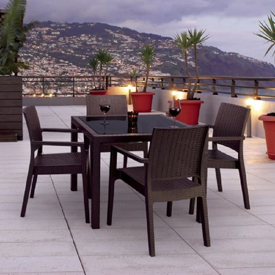 Merveilleux Compamia Miami Wickerlook 5 Piece Brown Wood Frame Wicker Patio Dining Set
