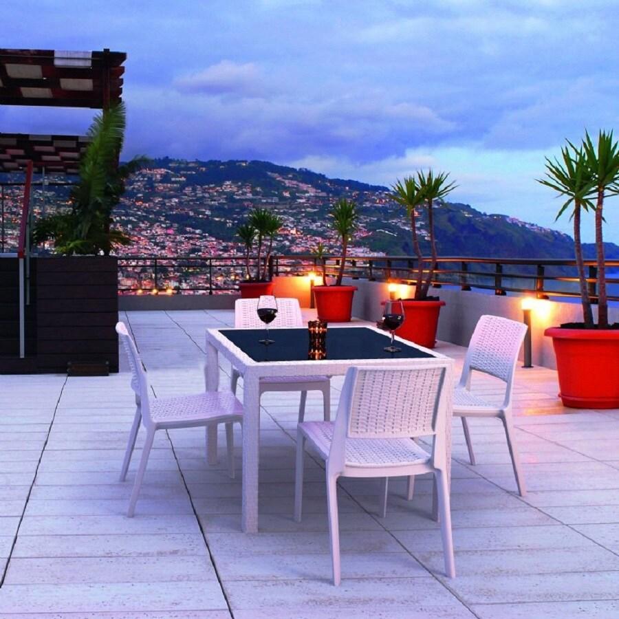 Compamia Miami Wickerlook 5-Piece White Glass Patio Dining Set