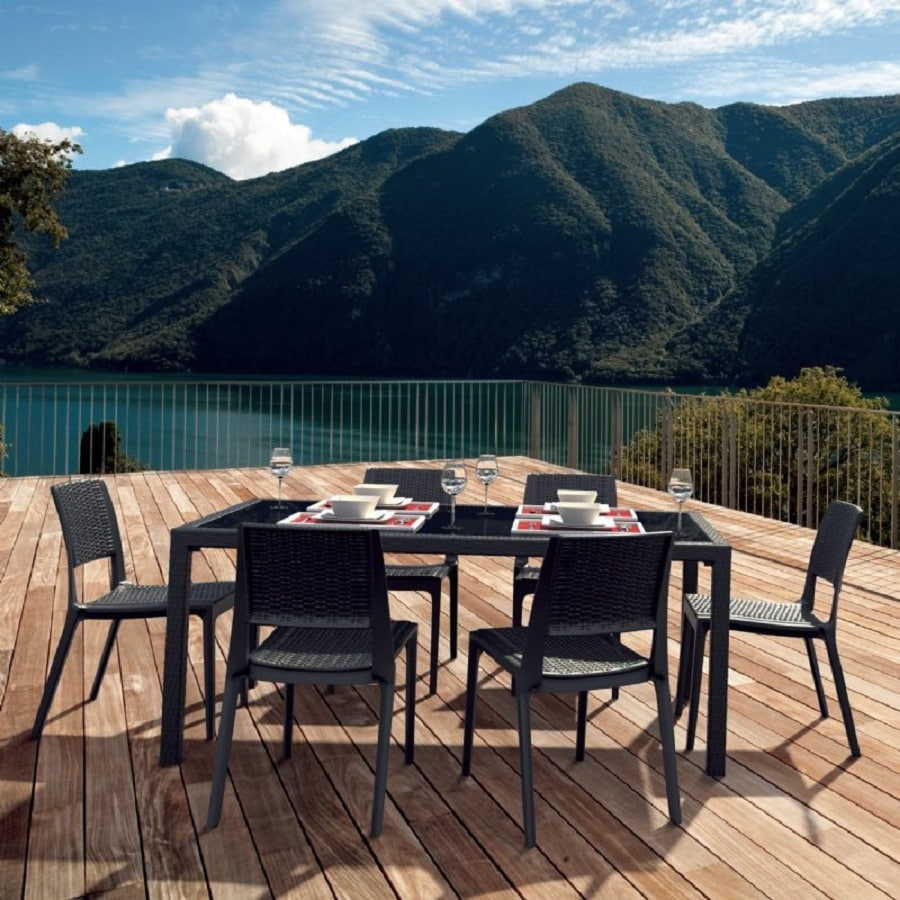 Compamia Miami Wickerlook 7-Piece Coffee Brown Glass Patio Dining Set
