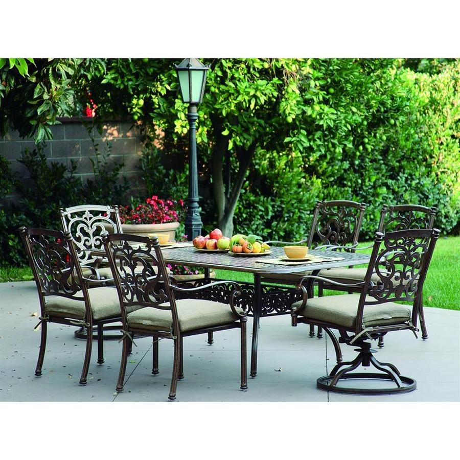 Darlee Santa Barbara 7-Piece Mocha Aluminum Patio Dining Set