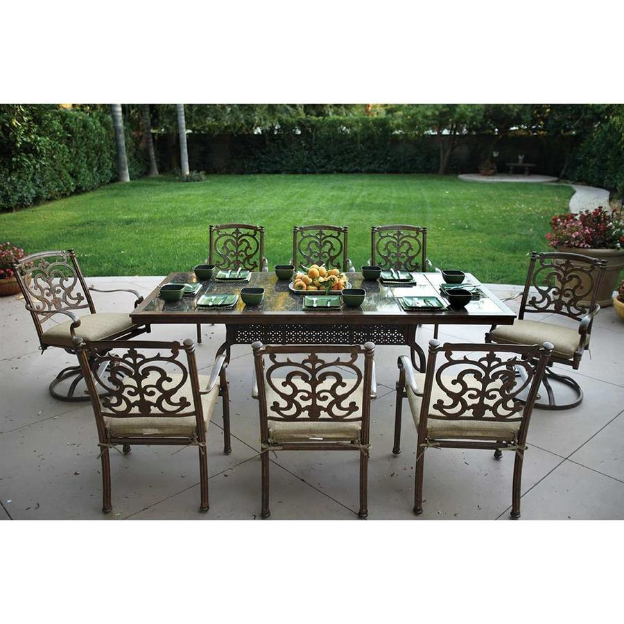 Darlee Santa Barbara 9 Piece Mocha Aluminum Patio Dining Set With Sesame  Cushions