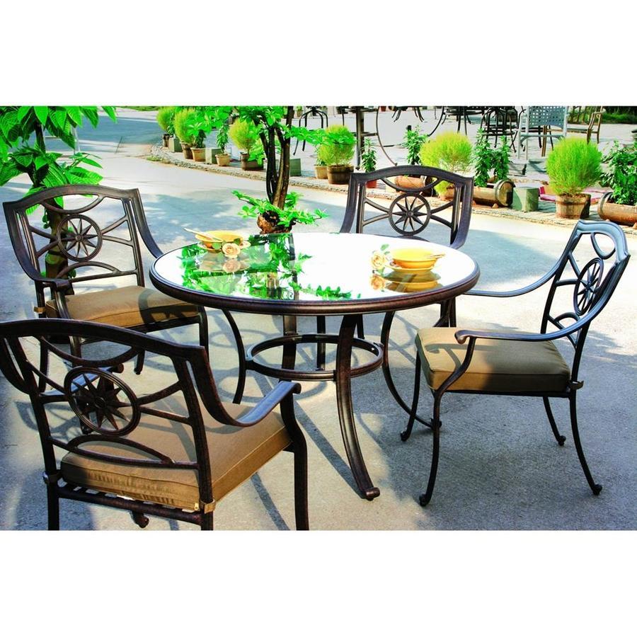 Darlee Ten Star 5-Piece Antique Bronze Aluminum Patio Dining Set with Sesame Cushions