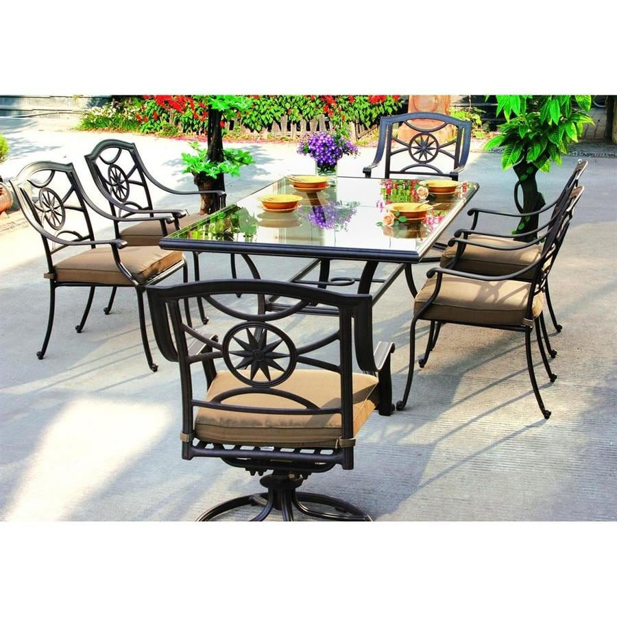 Darlee Ten Star 7-Piece Antique Bronze Glass Patio Dining Set