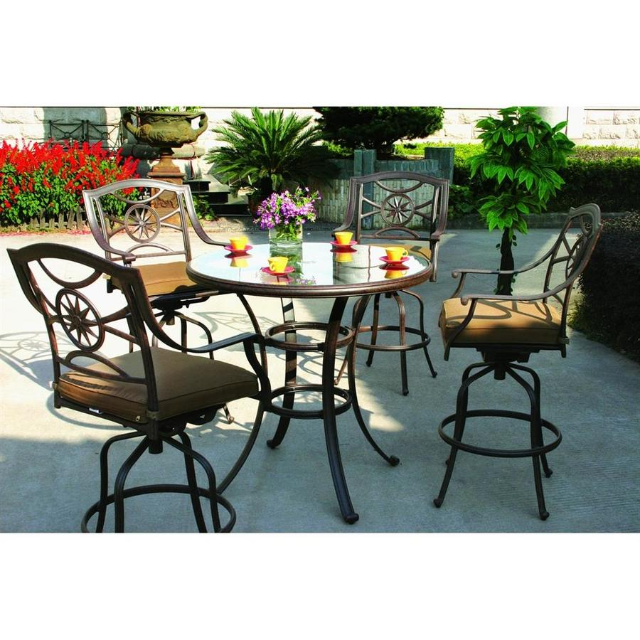 shop darlee ten star 5-piece antique bronze glass bar patio dining