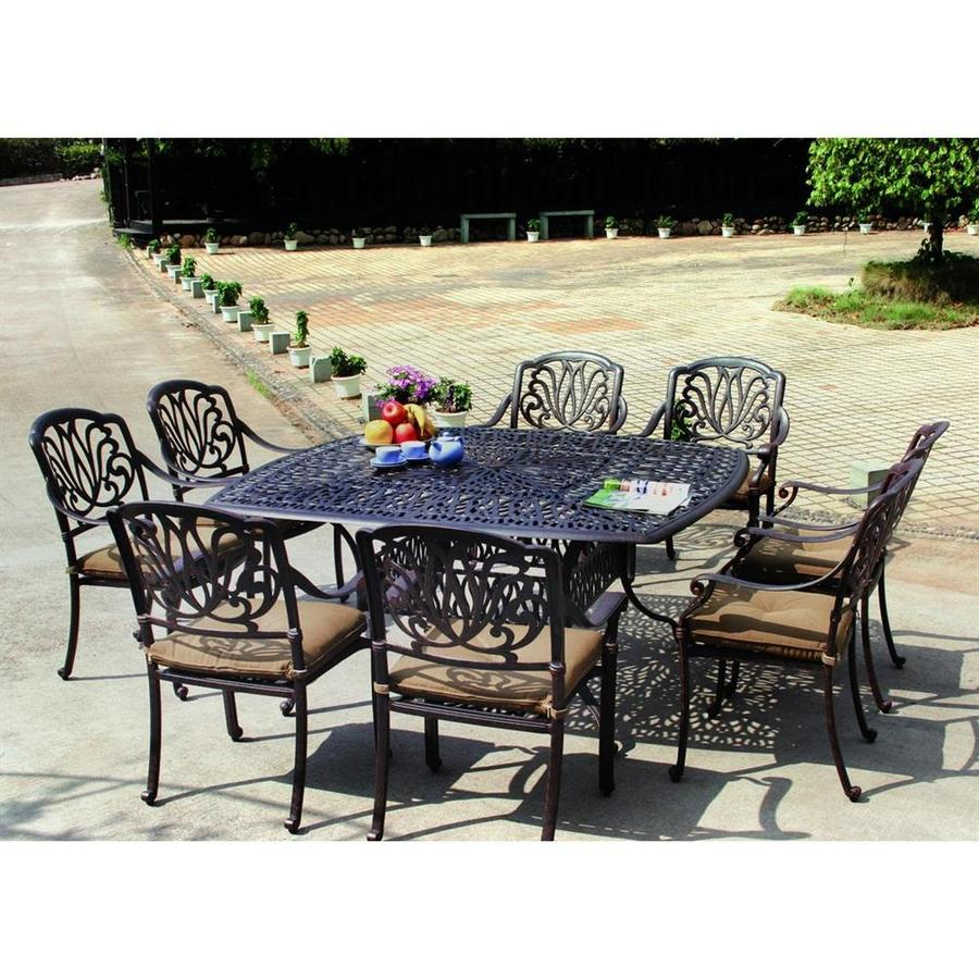 Darlee Elisabeth 9 Piece Antique Bronze Aluminum Patio Dining Set With  Sesame Cushions