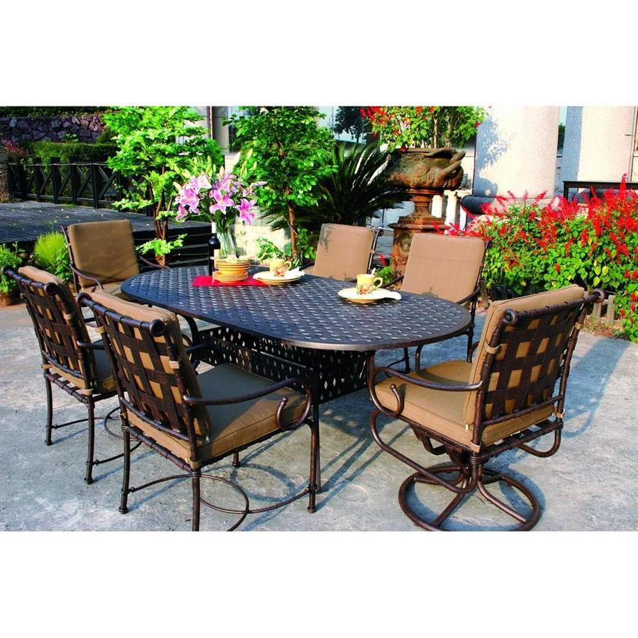Darlee Malibu 7-Piece Antique Bronze Aluminum Patio Dining Set