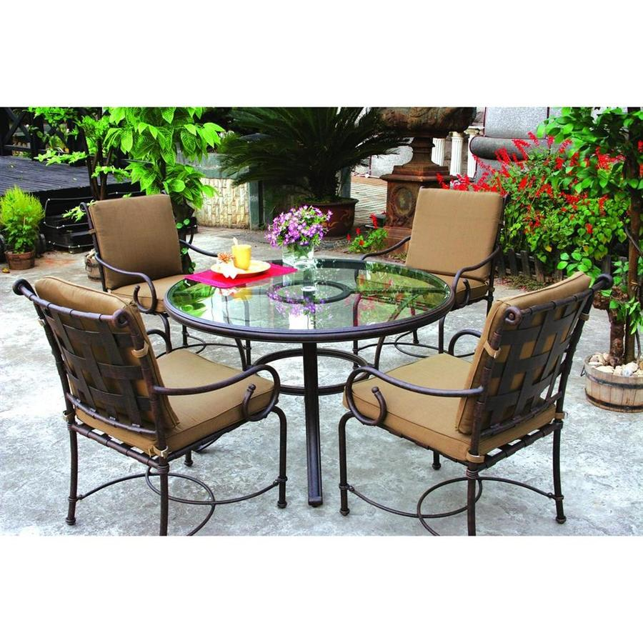 Shop darlee malibu 5 piece antique bronze glass patio for Glass dining set