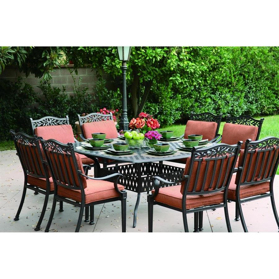Darlee Charleston 9 Piece Antique Bronze Aluminum Patio Dining Set With  Spicy Chili Cushions