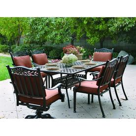 Darlee Charleston 7 Piece Antique Bronze Aluminum Patio Dining Set With  Spicy Chili Cushions
