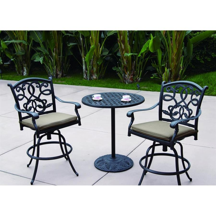 Darlee Santa Monica 3-Piece Antique Bronze Aluminum Bar Patio Dining Set
