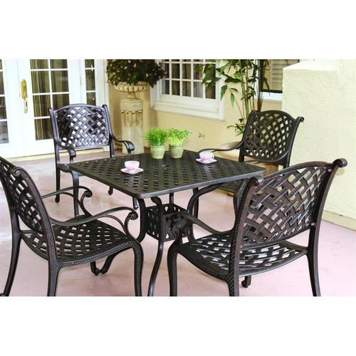 Darlee Nassau 5 Piece Antique Bronze Aluminum Patio Dining