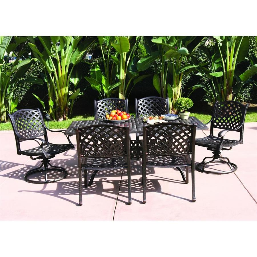 Shop Darlee Nassau 7-Piece Antique Bronze Aluminum Patio Dining ...