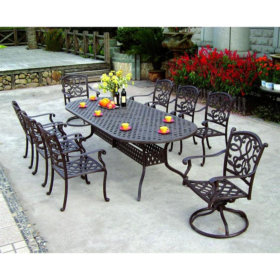 darlee santa monica 9piece antique bronze aluminum patio dining set