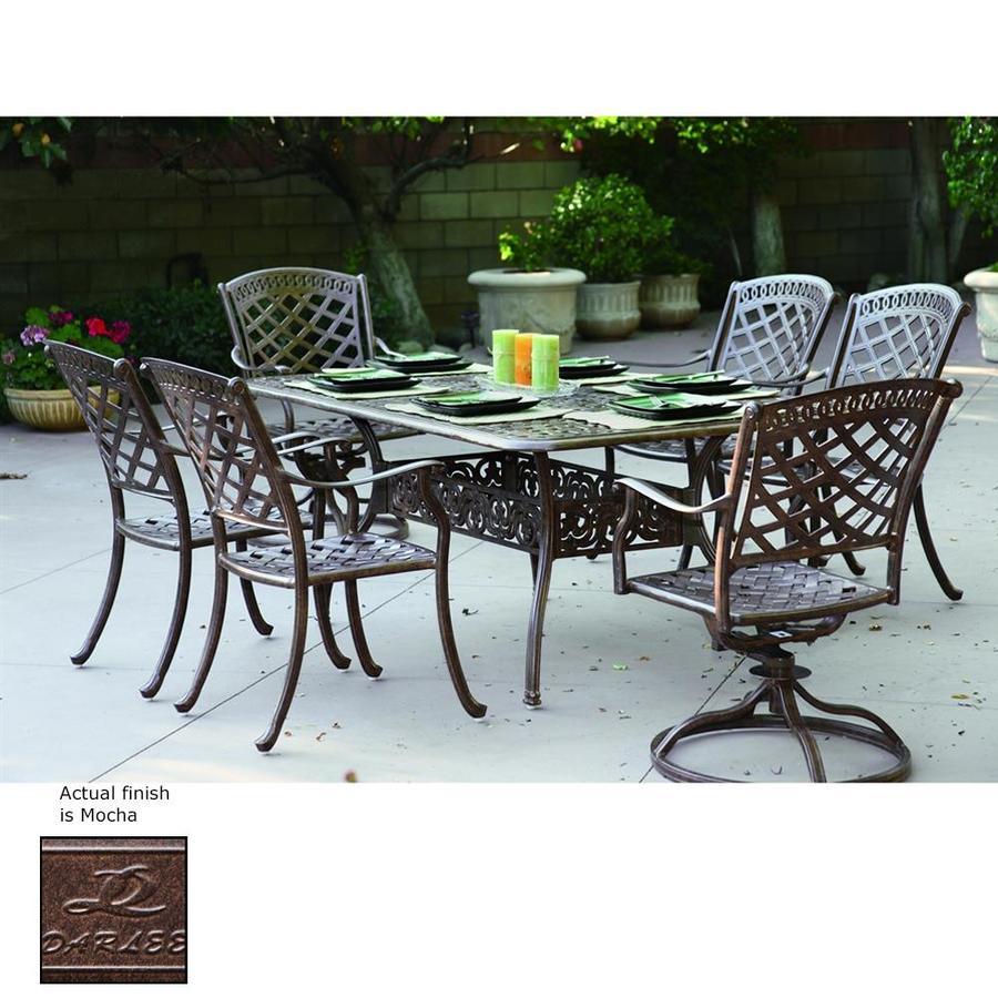 darlee sedona 7 piece mocha aluminum patio dining set at