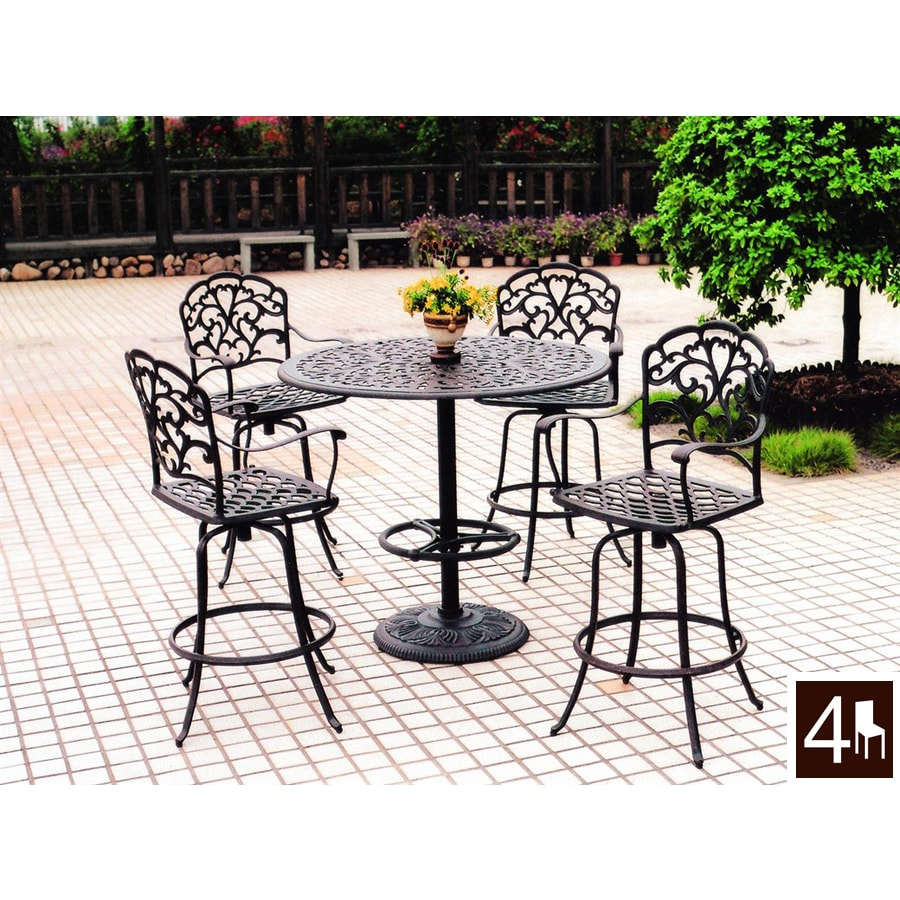Darlee 5 Piece Catalina Cast Aluminum Patio Bar Height Set