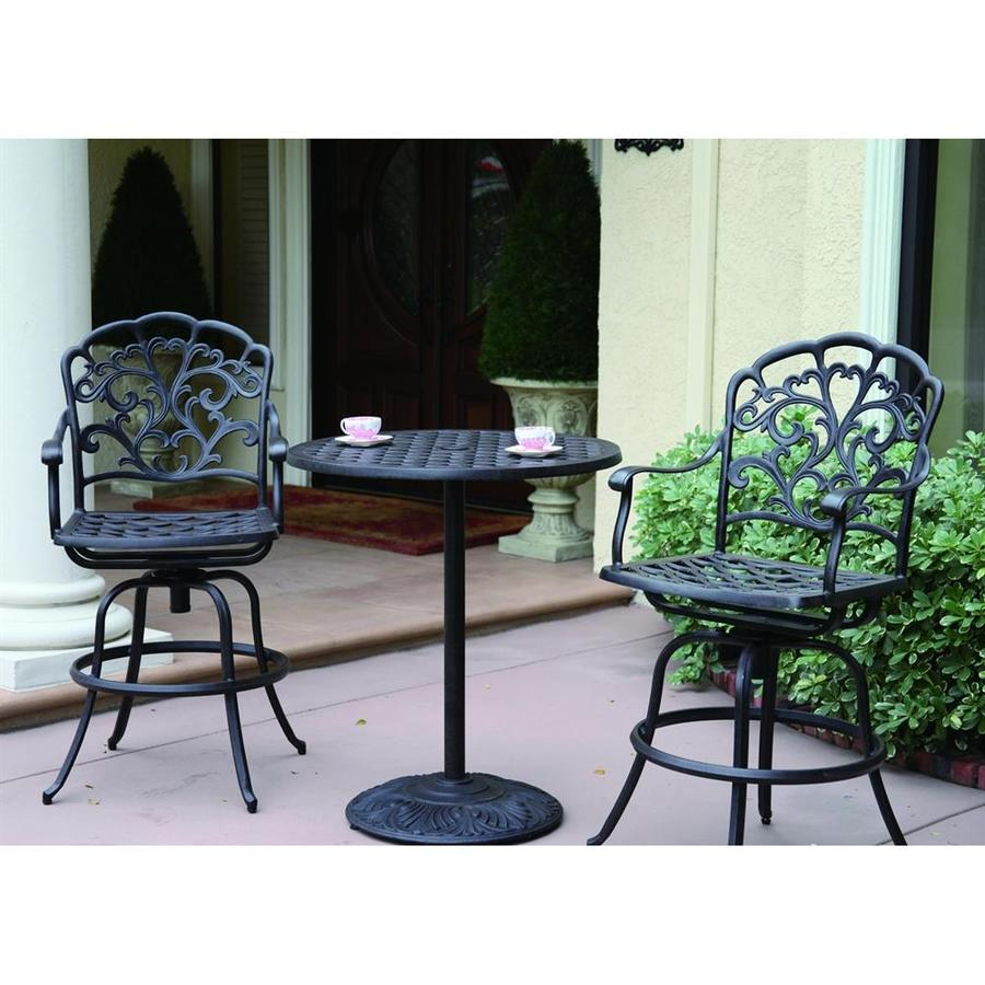 Darlee Catalina 3-Piece Antique Bronze Aluminum Bar Patio Dining Set