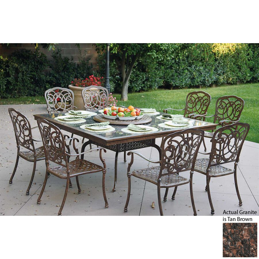 Darlee Florence 9 Piece Antique Bronze Stone Patio Dining Set
