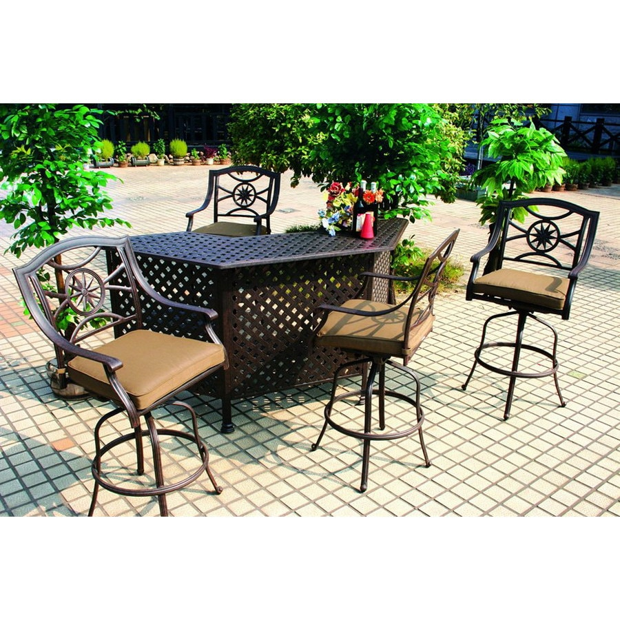 shop darlee 5 piece cushioned cast aluminum patio bar