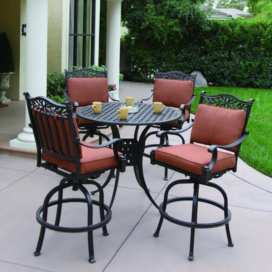 Darlee Charleston 5 Piece Antique Bronze Aluminum Bar Patio Dining Set