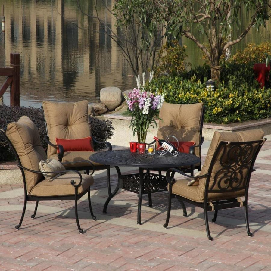 Shop Darlee Santa Anita 5 Piece Antique Bronze Aluminum Patio Dining Set At