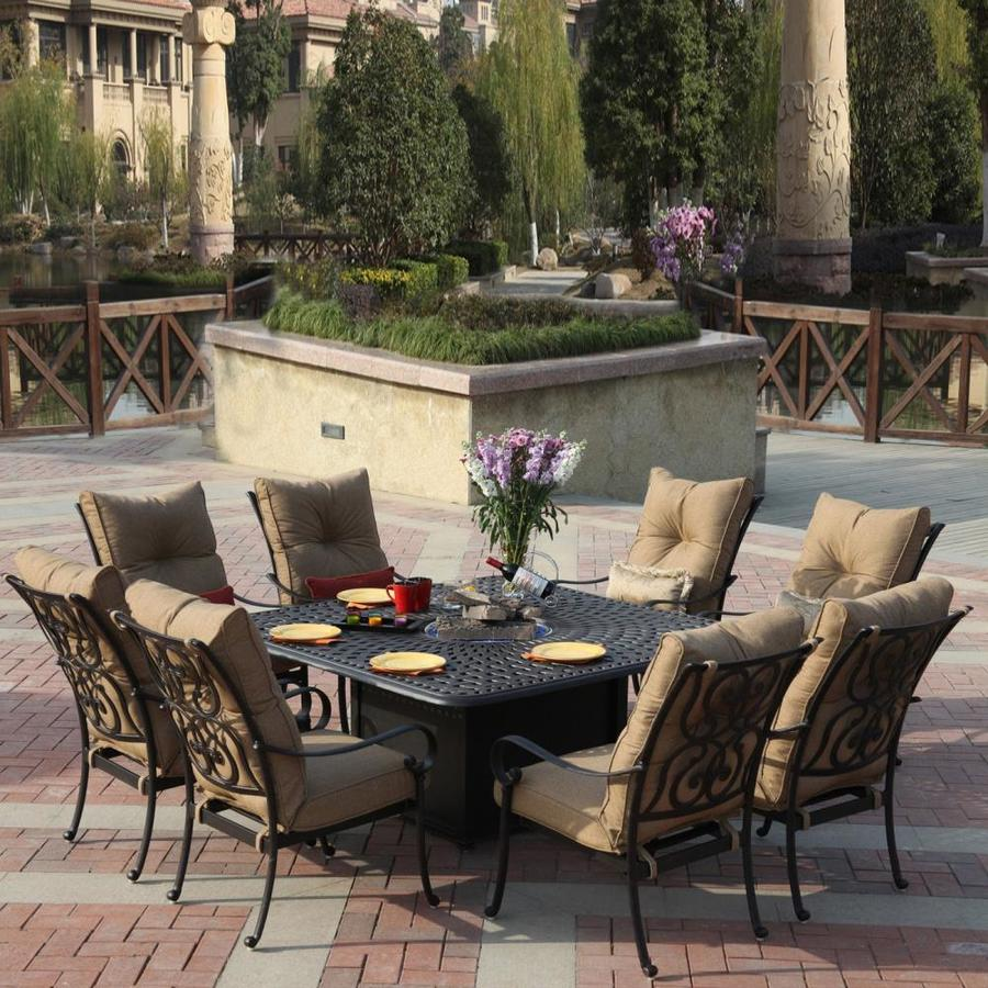 anita 9 piece antique bronze aluminum patio dining set at