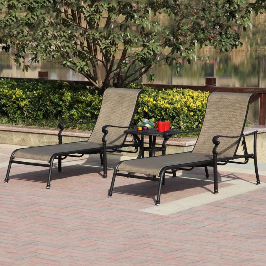 Darlee Set of 2 Monterey Sling Seat Aluminum Patio Chaise Lounges
