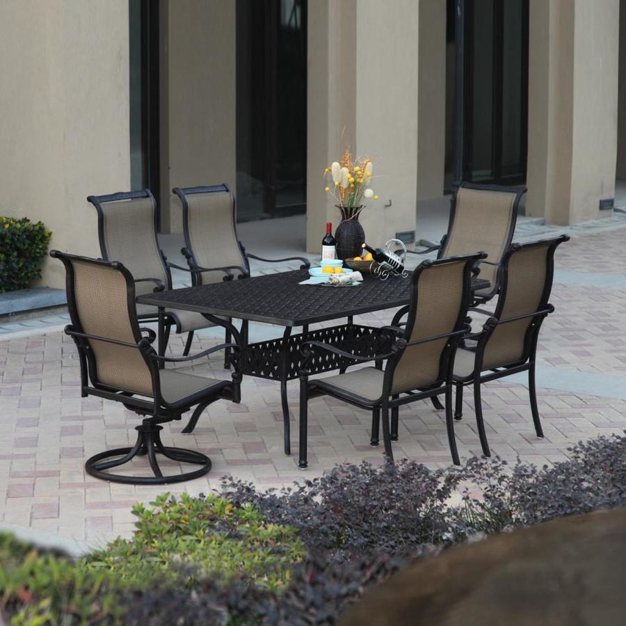 Shop darlee monterey bay 7 piece antique bronze aluminum for Outdoor furniture 7 piece