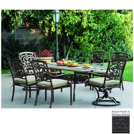 outdoor dining table and chairs concrete darlee santa barbara 7piece antique bronze aluminum patio dining set with sesame cushions shop sets at lowescom