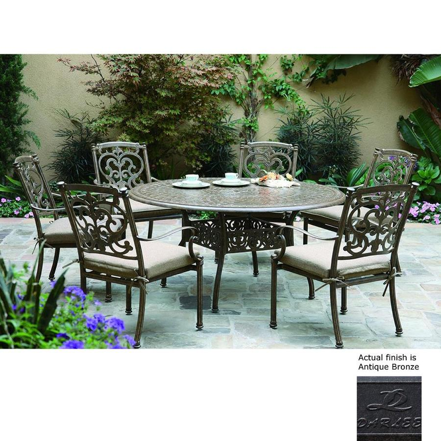 shop darlee santa barbara 7 piece antique bronze aluminum patio dining