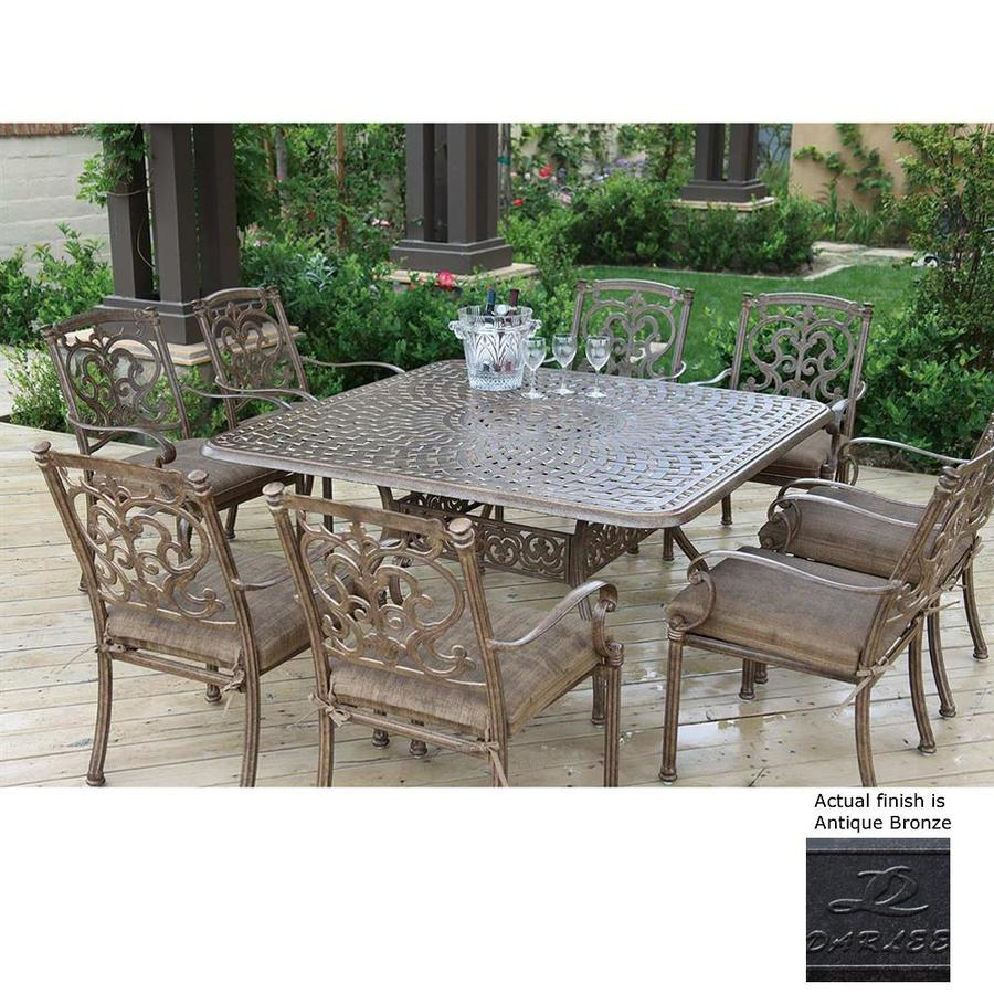 Darlee Santa Barbara 9 Piece Mocha Aluminum Patio Dining Set With Sesame Cushions At Lowes Com