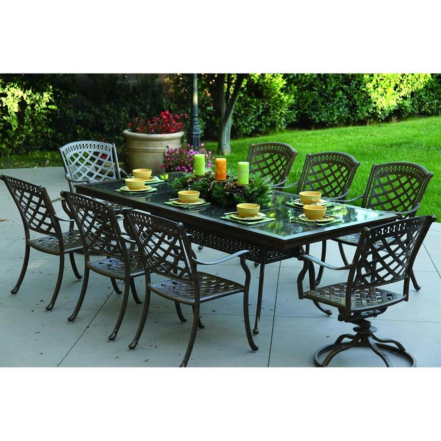 Darlee Sedona 9-Piece Antique Bronze Stone Patio Dining Set
