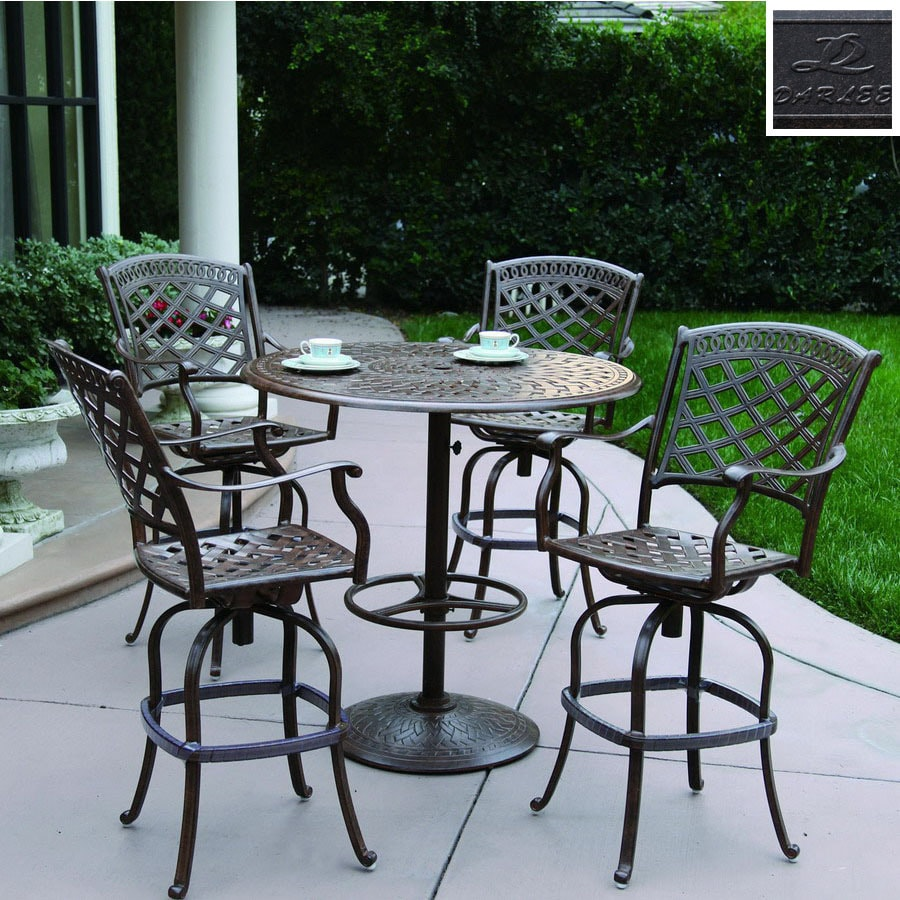 Darlee 5 Piece Sedona Cast Aluminum Patio Bar Height Set