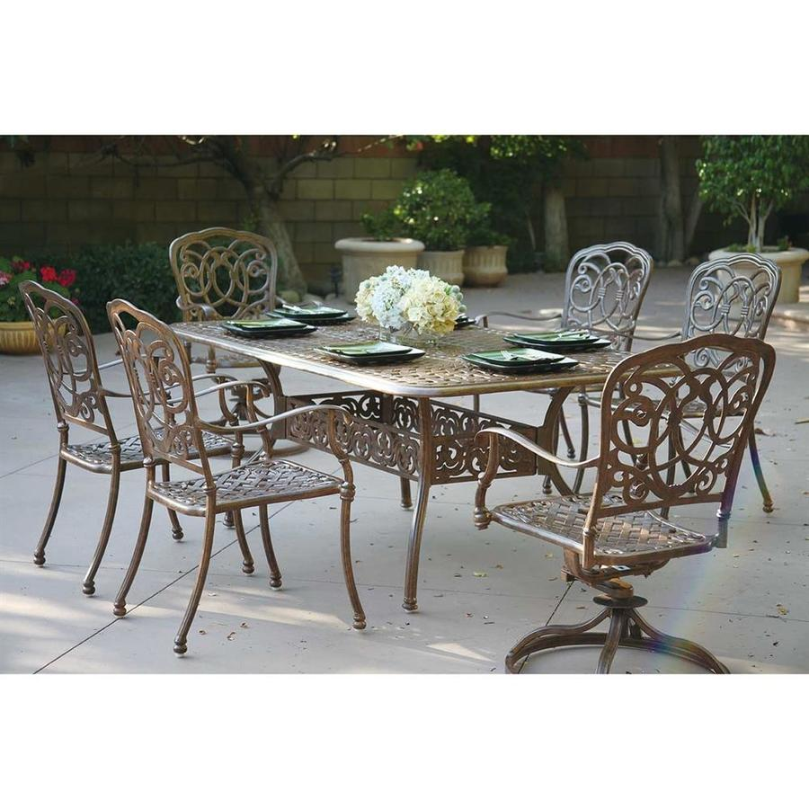 Shop darlee florence 7 piece mocha aluminum patio dining for Outdoor furniture 7 piece