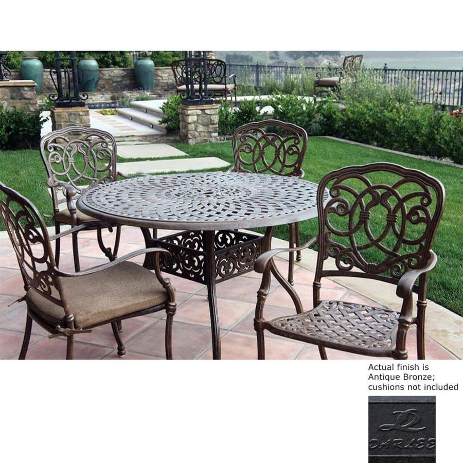 Excellent Darlee Florence 5 Piece Antique Bronze Aluminum Patio Dining Home Interior And Landscaping Mentranervesignezvosmurscom