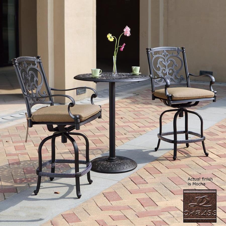 Darlee Santa Barbara 3-Piece Mocha Aluminum Bar Patio Dining Set