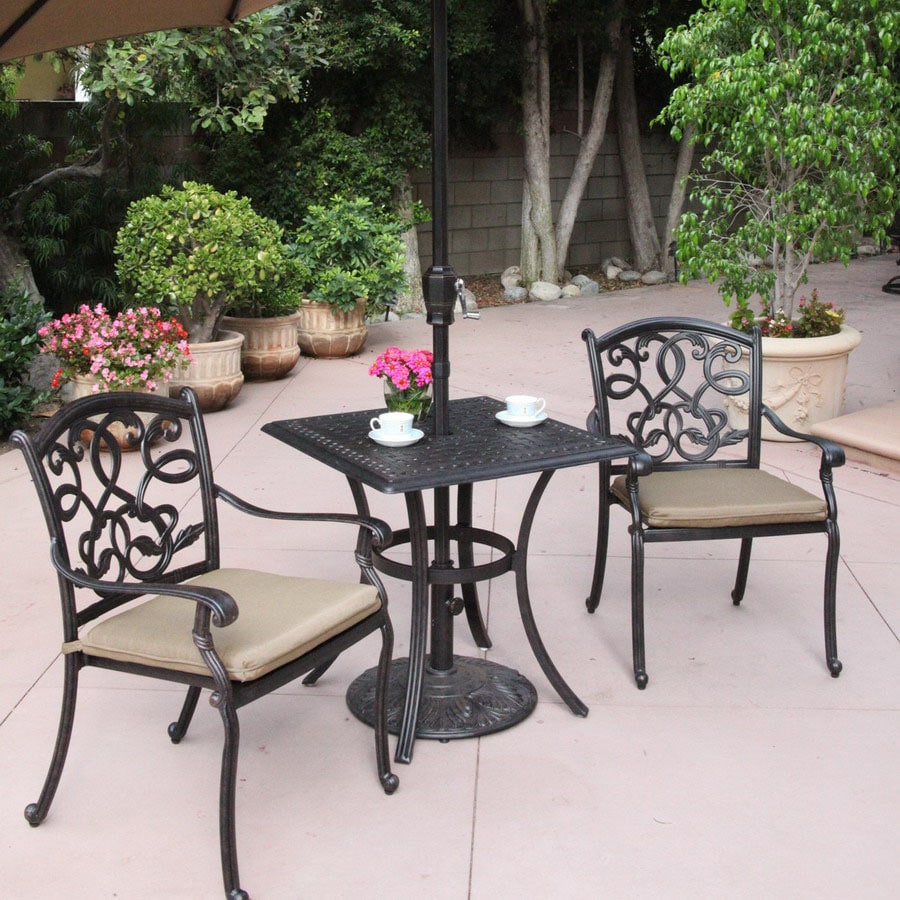 3 piece patio set shop darlee 3 santa cushioned cast aluminum 10318