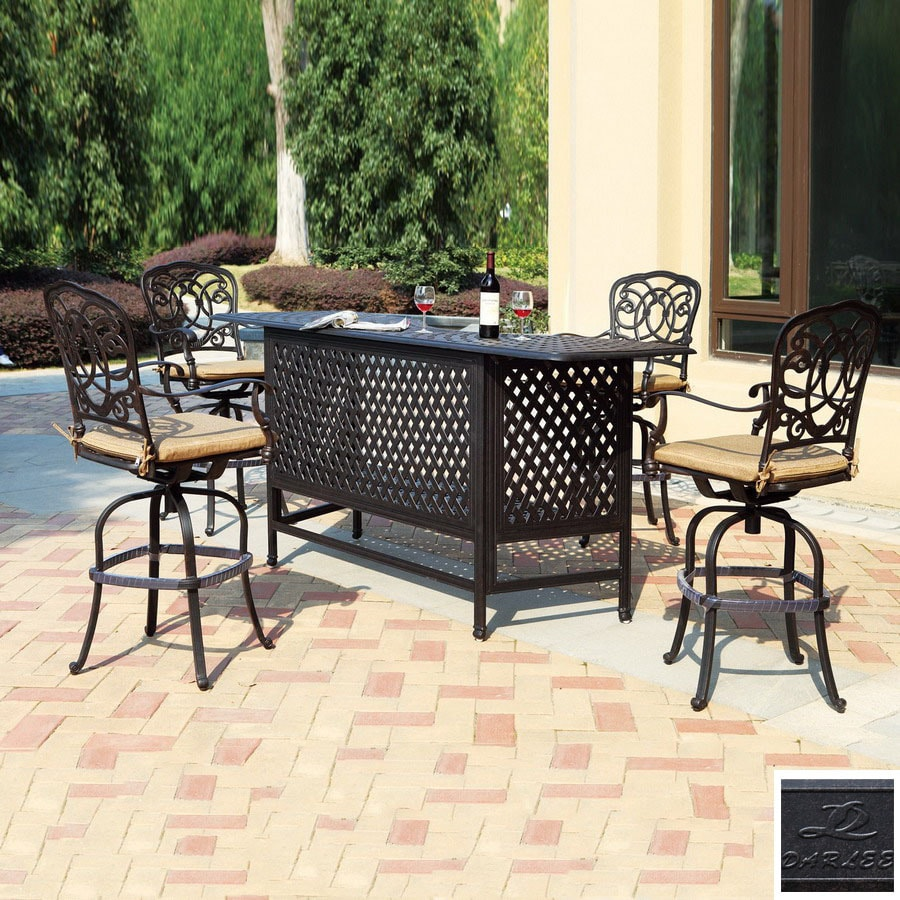 Darlee 5 Piece Florence Cushioned Cast Aluminum Patio Bar Height Set At Lowes Com