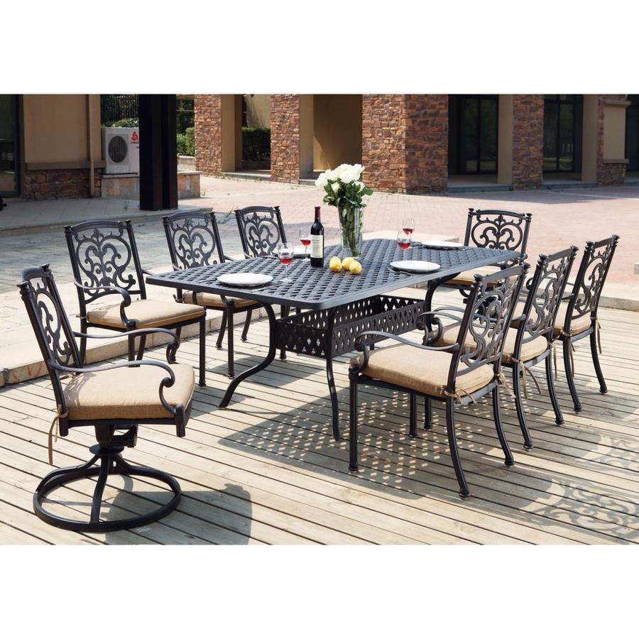 Darlee Santa Barbara 9 Piece Antique Bronze Aluminum Patio Dining Set With  Sesame Cushions