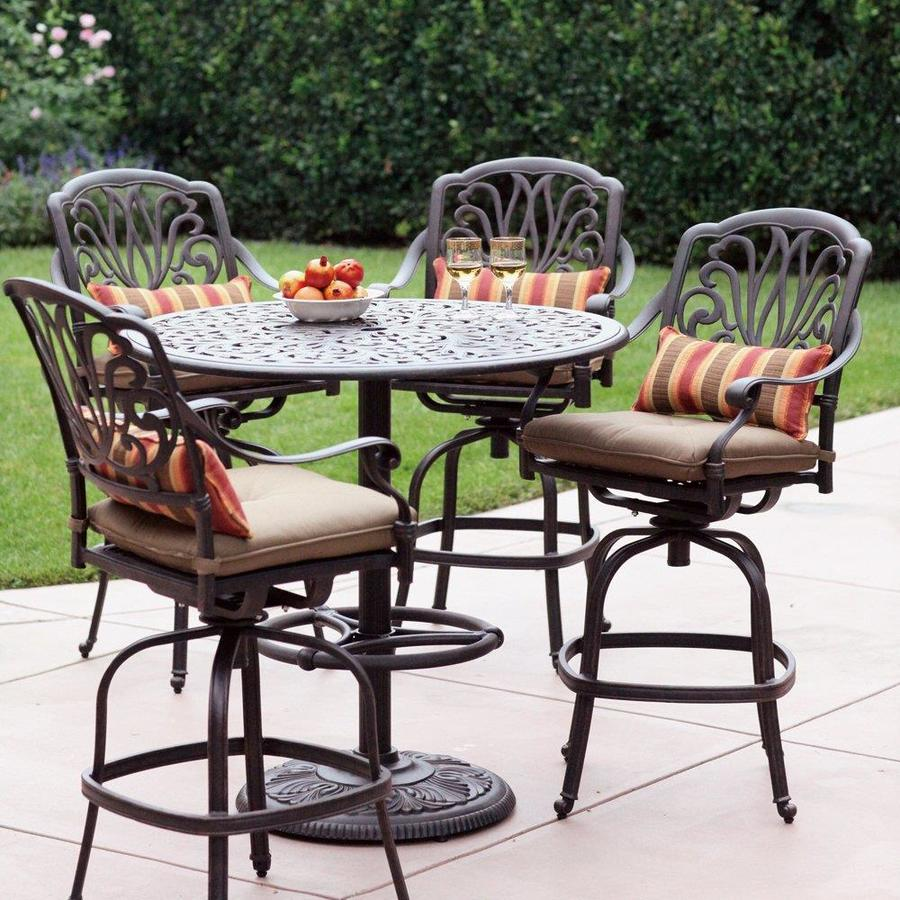 Darlee Elisabeth 5 Piece Antique Bronze Aluminum Bar Patio Dining Set With  Sesame Cushions